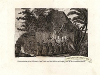 An offering to Captain Cook and his officers at Owhyhee one of t