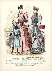 Elegant ladies and girl - Double sized print(II)