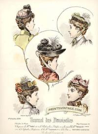 Ladies hats - Double sized print. Faint foxing