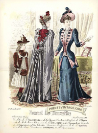 Elegant ladies and girl - Double sized print. Faint foxing