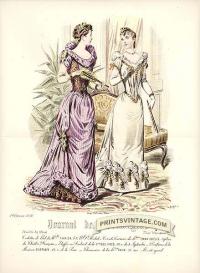 Elegant ladies holding fans - Double sized print